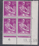 France N° 1116  XX Type Moissonneuse : 12 Lilas-rose En Bloc De 4 Coin Daté Du 19 . 2. 58 ; 1 Point  Sans Charnière, TB - 1950-1959