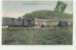 11 - VILLENEUVE MINERVOIS - TOP CP - Vue De La Gare Animée Train Colorisé Bon état - Autres Communes