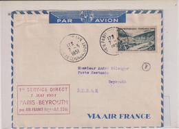 PREMIER SERVICE DIRECT PAR AVION PARIS-BEYROUTH PAR AIR FRANCE-LIGNE A.F.226- 7 MAI 1951 VOIR DOS - Poste Aérienne