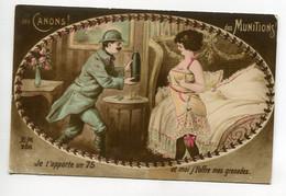 """MILITARIA  Guerre Permission """" Je T'apporte Un 75  Et Moi J't'offre Mes Grenades"""" Erotisme Grivoiseries  écrite D13 2021 - Guerra 1914-18"""