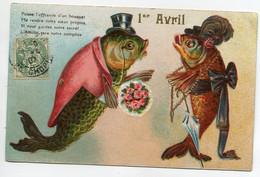 POISSONS Humanisés Couple Monsieur Offrant Bouquet Flers 1er Avril Carte Gaufrée   D13 2021 - Fish & Shellfish