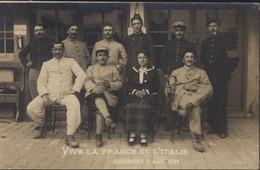 Guerre 14 18 CP CPA Carte Photo Soldats Français Internés à Champéry 7 8 1916 Vive La France Et L'Italie Canton Valais - Guerre 1914-18