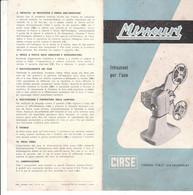 B2104 - Brochure ISTRUZIONI PROIETTORE MISSOURI 8MM Ed.CIRSE Anni '50 - Film Projectors