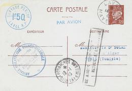 """1943- C P E P Pétain 1,50 F  Surtaxe Avion Bleue """" SURTAXE PERCUE / LAVAL R.P. Pour Tunis - Guerra Del 1939-45"""