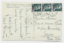 GANDON ALGERIE 2FR BANDE DE 3 UN TIMBRE LEGER DEFAUT  CARTE ALGER 24.5.1946 POUR SUISSE AU TARIF PEU COMMUN - 1945-54 Marianne Of Gandon