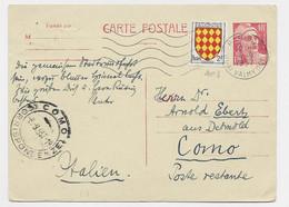 ENTIER 18FR GANDON  CP +2FR BLASON PARIS 1957 POUR COMO ITALIE - 1945-54 Marianna Di Gandon