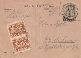 POLOGNE 1949  ENTIER POSTAL/GANZSACHE/POSTAL STATIONARY CARTE - Stamped Stationery