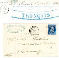 ALLIER LAC 1862 PC T14 AINAY LE CHATEAU + BOITE RURALE SUPPLEMENTAIRE A/2 = LES FORGES DE TRONCAIS - 1849-1876: Classic Period