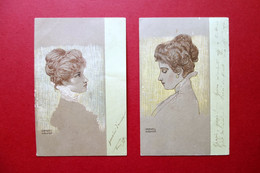 2 Cartoline Originali Raphael Kirchner Volti Femminili Viaggiate 1901 - Zonder Classificatie