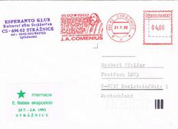 40615. Carta STRAZNICE (Checoslovaquia) 1992. ESPERANTO Club, Comenius - Brieven En Documenten