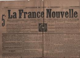 LA FRANCE NOUVELLE 16 10 1876 - RUSSIE TURQUIE - GARIBALDI - EXECUTION MARIE ANTOINETTE - LA FALAISE DE MESNIL-VAL CRIEL - 1850 - 1899
