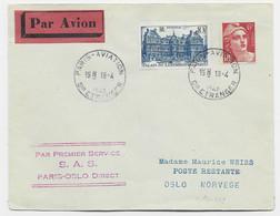 GANDON 6FR N°721A+ 760 LETTRE AVION PARIS AVIATION 18.4.1948 POUR NORVEGE - 1945-54 Marianne Of Gandon
