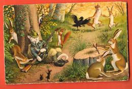 ZIG-31a Lapins Habillés Humanisés La Partie De Chasse, écureuil, Aigle.chasseur, Fusil. Circulé Sans Timbre. Künzli 4729 - Animales Vestidos