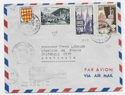 N° 979+976+972+ BLASON LETTRE AVION PARIS 128 1955 POUR GUATEMALA AU TARIF - 1921-1960: Periodo Moderno