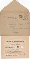 AIN ENV TARIF ELECTIONS 1934 TREVOUX TYPE 04 EN P.P. GRIFFE ELECTIONS + BULLETIN DE VOTE - 1921-1960: Modern Period