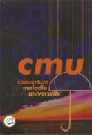 F110/ CARTE Publicitaire Advertising Card Cart' Com CPM Cartcom PUBLICITE Feuillet  CMU Parapluie CPAM SECURITE SOCIALE - Publicidad