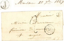 MAINE ET LOIRE LAC 1849 BAUGE T15 TAXE 2 TAMPON + BOITE RURALE J = MOULIHERME - 1849-1876: Classic Period