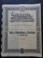 NOUVELLE CALEDONIE - LE NICKEL DE LA NOUVELLE CALEDONIE - PART DE FONDATEUR - PARIS 1907 - Unclassified