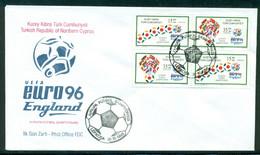 AC - NORTHERN CYPRUS FDC -  THE EUROPEAN FOOTBALL CHAMPIONSHIP LEFKOSA, 31 OCTOBER 1996 - Cartas