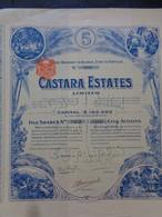 TOBAGO - CASTARA ESTATES LIMITED - TITRE DE 5 ACTIONS DE 1 £ - LONDRES 1910 - Unclassified