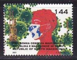 Macedonia 2021 Support For Health Workers Fighting Covid 19 Corona Disease Medicine Stamp MNH - Disease