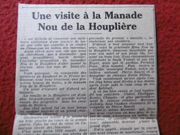 VISITE A LA MANADE NOU DE LA HOUPLIERE - Historische Documenten