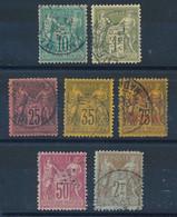 "EA-267: FRANCE: Lot  Avec ""SAGE"" T 2ème Choix Obl N°65-82-91-93-99-104-105 - 1876-1898 Sage (Tipo II)"