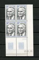 WALLIS FUTUNA 1975  N° 189 ** Bloc De 4 Coin Daté Neuf MNH Superbe C 43.50 € Célébrité Celebritie POMPIDOU - Unused Stamps