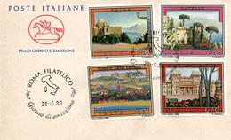 Italia 1980 FDC CAVALLINO Propaganda Turistica Erice - Ravello - Roseto Degli Abruzzi - Salsomaggiore Terme - Otros