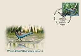 BIRDS Latvia / Lettland / Lettonia  2017  Little Crake  , Yellow Wagtail -  = FULLSET = FDC - Lettonie