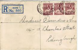 GOLDKÜSTE  GOLD COAST   R-Brief    Registered Cover 1936 Accra To Edingburgh - Côte D'Or (...-1957)