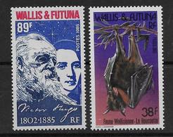 1985 Wallis Et Futuna N° 329 à 330 Nf** MNH . Victor Hugo, Chauve-souris ( Roussette) - Unused Stamps