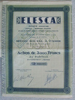 Actions Françaises De La Société Anonyme ELESCAT. - Other