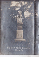 Photographie Statue  Du Poète Allemand Heinrich Heine Halle Sur Saale ? Photo Oscar Ballin Jun Réf 6147 - Guerra, Militari