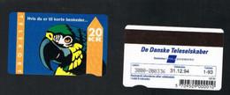DANIMARCA (DENMARK)  - DE DANSKE TELESELSKABER (MAGNETIC) - 1993 PARROT CODE 3000  1.93 - 12.94    - USED ° - RIF. 9626 - Fische