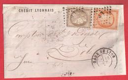N°38 56 LOSANGE LP CAD GARE DE LYON RHONE  POUR DOLE JURA DEVANT DE LETTRE FRONT COVER - 1849-1876: Classic Period