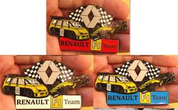 3 GRAND PINS PIN'S RENAULT ESPACE Et FORMULE 1, 70 Mm De Large - Renault