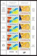 00039 VENEZUELA 1987 35th Anniv.Inst.Canalization(5 Pairs ) Mini-Sheet MNH Scott 189-91ab $1.25/pair $6.25 - Venezuela