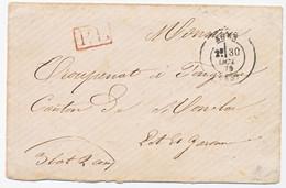 GUERRE 1870 LOT ET GARONNE ENV 1870 AGEN T17 PORT PAYE EN NUMERAIRE POUR MANQUE DE TIMBRE ( GUERRE 1870 )+ GRIFFE PP - 1849-1876: Classic Period