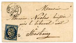 BAS RHIN LAC 1851 SCHLESTADT T15 ET GRILLE SUR N°4 DFT PETITE LETTRE TRES PLAISANTE - 1849-1876: Classic Period