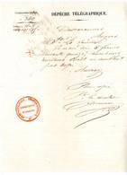 MAINE ET LOIRE  DEPECHE TELEGRAPHIQUE 1843 CACHET ROUGE SUPERBE ADMINISTRATION TELEGRAPHIQUE DIRECTION D'ANGERS - 1801-1848: Precursors XIX