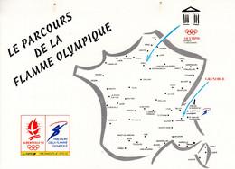 """"""" J.O. D'ALBERTVILLE 1992 : LE PARCOURS DE LA FLAMME OLYMPIQUE """" Sur Encart N° YT 2632. Petites Tâches, Voir Scan - Winter 1992: Albertville"""