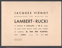 Paris Rue D'Alesia  : Exposition  Des Oeuvres Du Sculpteur  LAMBERT-RUCKI ( Le  4 Juillet)  (PPP29244) - Unclassified