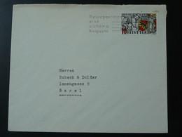 750 Jahre Bern Sur Lettre On Cover Flamme Postmark Basel Suisse Switzerland 1941 (ex 2) - Cartas