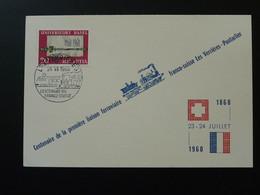 Carte Commemorative Train Chemins De Fer Liaison Ferroviaire Les Verrières --> Pontarlier Doubs Suisse Switzerland 1960 - Ferrovie