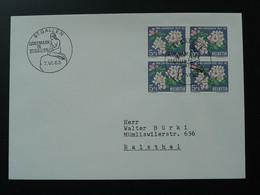 Bloc De 4 Pro Juventute Sur Lettre Cover Oblit. Sirène Mermaid Denmark In St-Gallen Suisse Switzerland 1963 - Lettres & Documents