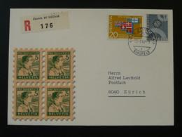 Lettre Recommandée Registered Cover Zurich 40 Sihfeld Suisse Switzerland Europa 1967 - Briefe U. Dokumente