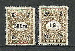 DENMARK Dänemark Stempelmarken Revenue 50 Öre & 1 Krone O - Steuermarken