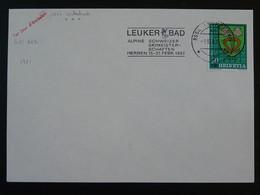 Station Thermale Sirène Mermaid Flamme Sur Lettre Postmark On Cover Leukerbad Suisse Switzerland 1982 - Thermalisme