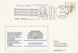 Sonderkarte Schleswig Holstein Musik Festival 1992 Altenhof J S Bach MWST Werbestempel - Music